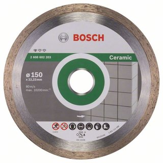 Bosch Diamanttrennscheibe Standard for Ceramic, 150 x 22,23 x 1,6 x 7 mm, 1er-Pack
