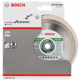 Bosch Diamanttrennscheibe Standard for Ceramic, 115 x 22,23 x 1,6 x 7 mm, 1er-Pack