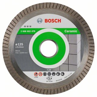 Bosch Diamanttrennscheibe Best for Ceramic Extra-Clean Turbo, 125 x 22,23 x 1,4 x 7 mm