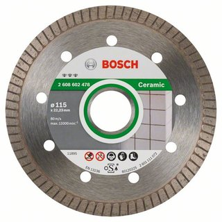 Bosch Diamanttrennscheibe Best for Ceramic Extra-Clean Turbo, 115 x 22,23 x 1,4 x 7 mm