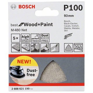 Bosch Schleifblatt M480 Net, Best for Wood and Paint, 93 mm, 100, 5er-Pack