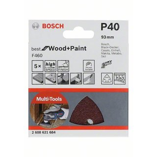Bosch Schleifblatt F460 Best for Wood and Paint, 93 mm, 40, 5er-Pack