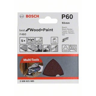 Bosch Schleifblatt F460 Best for Wood and Paint, 93 mm, 60, 5er-Pack